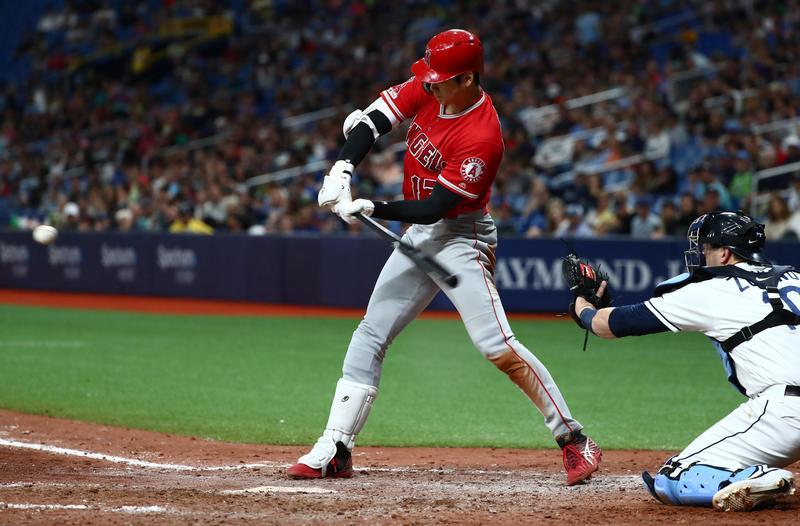 大谷翔平手感相當火燙,敲出全壘打、二壘打、三壘打、一壘打,成為MLB史上首位完成「完全打擊」的日籍球星。(東方IC)