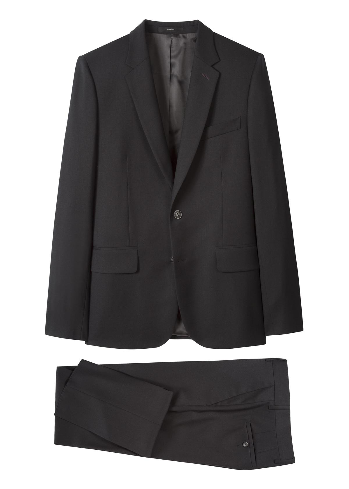 PAUL SMITH MIB系列 A Suit To Travel In成套黑色抗皺西裝 NT$58,500(PAUL SMITH提供)
