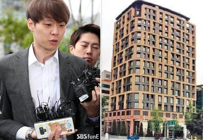 朴有天因涉嫌買毒、吸毒於4月底遭羈押,今韓媒爆料他以現居的豪宅(右圖)扺押借款,負債逾台幣1.4億元。(翻攝自SBS新聞網)