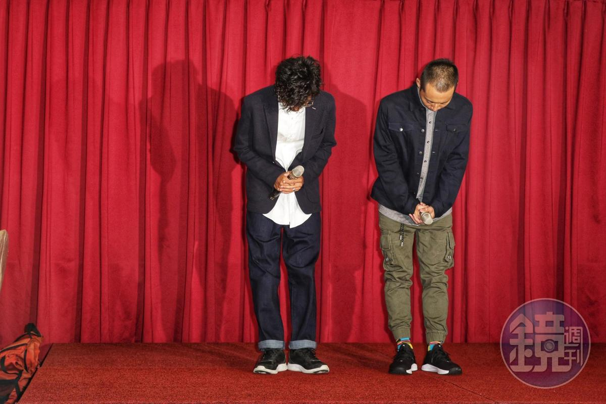 阿翔整個記者會六度鞠躬道歉。