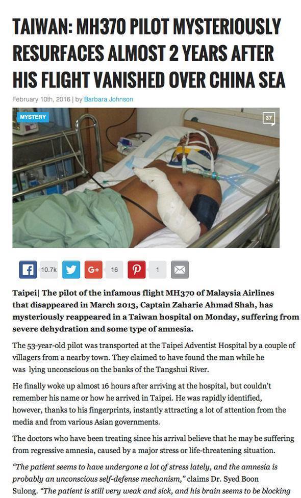 一個嘲諷新聞報導稱MH370客機的機師失憶在台灣的醫院接受治療,在馬來西亞引發風波。(網路截圖)