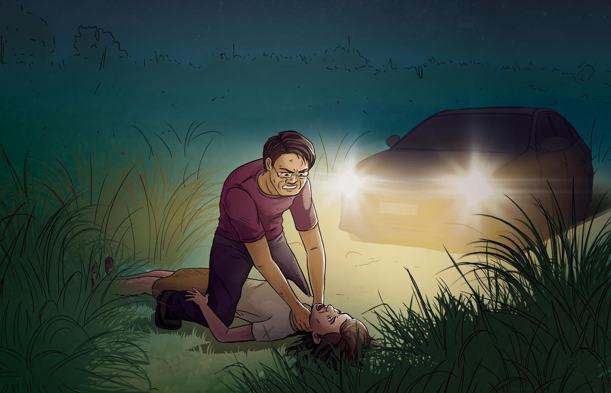 黃建河原本與兒子一同將曾美蘭送醫,但曾女醒來後攻擊兒子,黃男憤而將曾女拖至路旁草叢,掐頸致死。