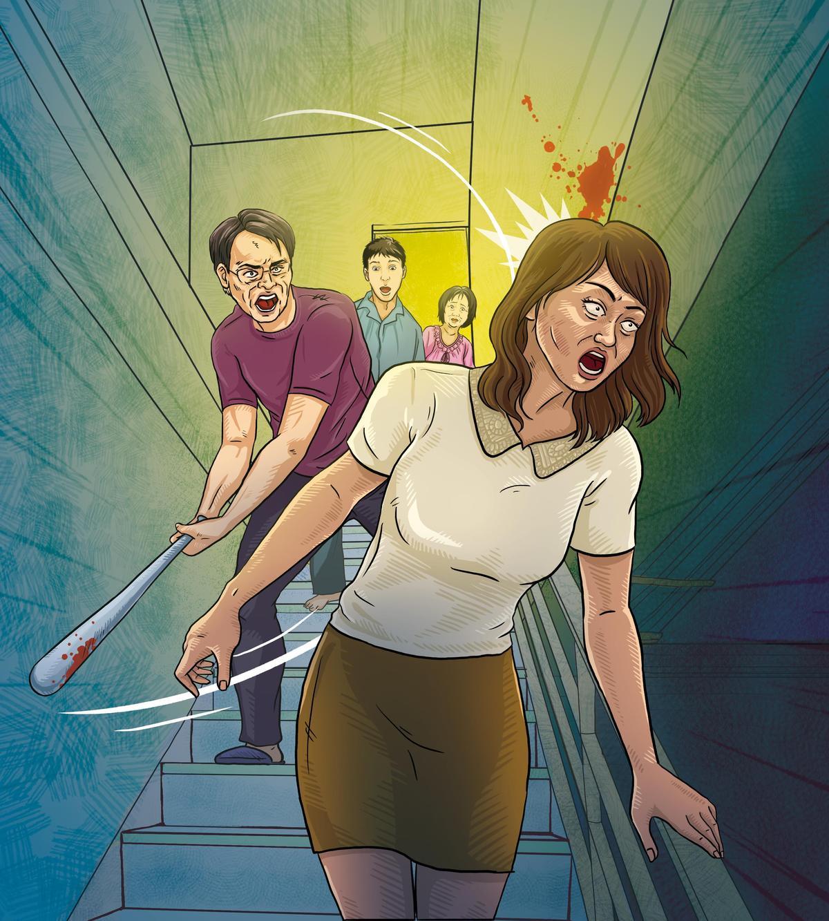 黃建河因曾美蘭酒後到家中吵鬧,甚至攻擊妻兒,一怒之下拿球棒重擊曾女。