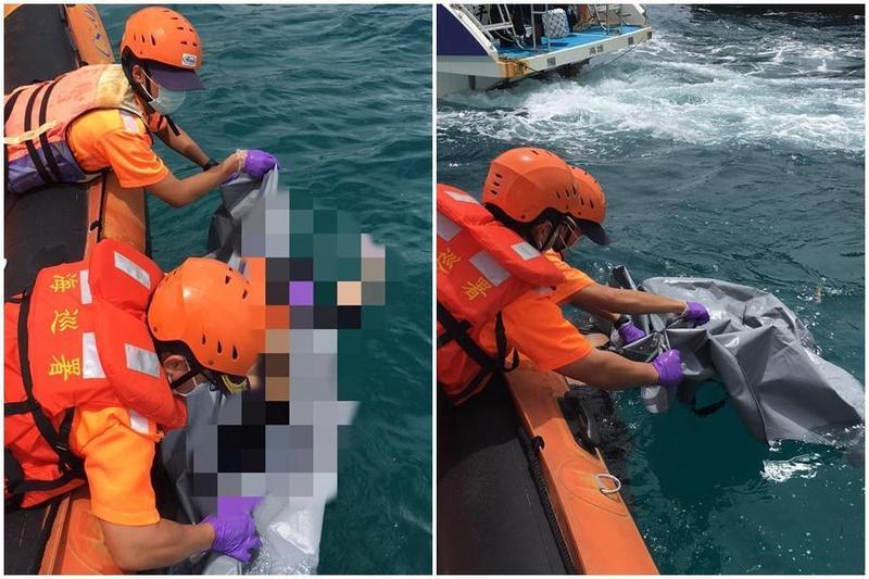 海巡人員出動救生艇,於小琉球海域打撈輕生女子浮屍。(翻攝畫面)