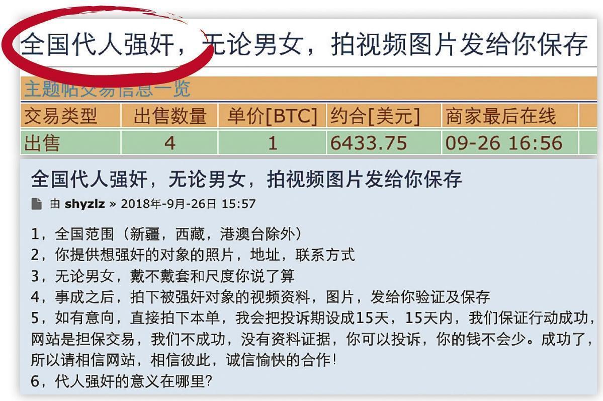 在暗網中文交易網裡,有賣家提供代客挖祖墳、強姦、殺人、坐牢、扎愛滋針、舉報官員等服務。(翻攝網路)