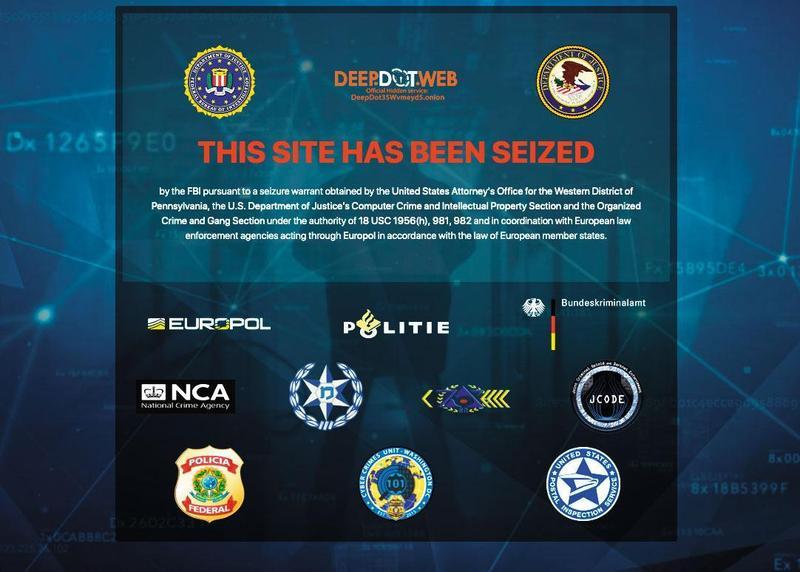 美國FBI、國際刑警組織日前將提供暗網網址的DeepDot Web封鎖,圖為封鎖頁面。(翻攝畫面)
