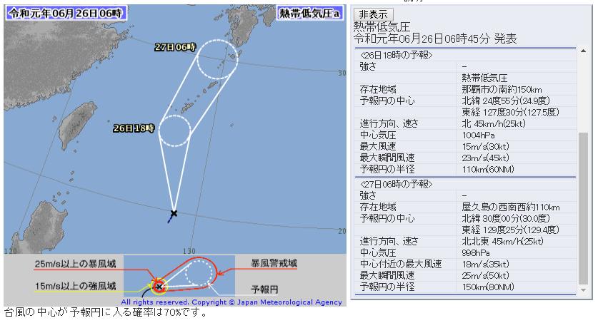 氣象專家認為該熱帶性低氣壓發展成第3號颱風的機率偏低。(翻攝自日本氣象廳網站)