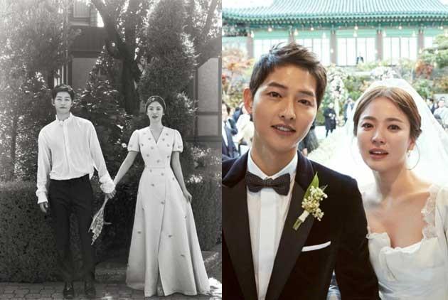 宋仲基(左)、宋慧喬前年10月底盛大舉辦世紀婚禮,未料不到2年婚姻破局。(翻攝自Naver、IG)