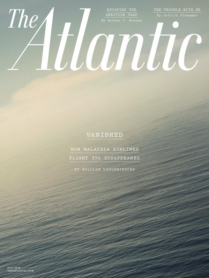 七月份《大西洋期刊》的七月號的封面,以失蹤馬航客機調查為主題的封面故事。 (網路截圖:The Atlantic)