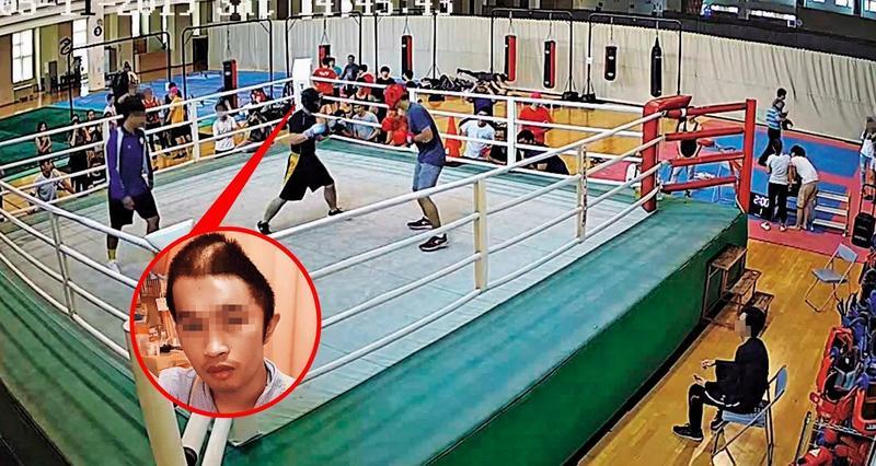 淡大自由搏擊社為推廣拳擊運動,主辦了跨校交流賽,不料,阿瑞(黑衣者)比賽3場後,發生憾事。(翻攝畫面)