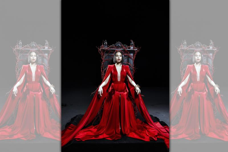 李幸倪在MV中一手紅衣,擔任審判者。(環球唱片提供)