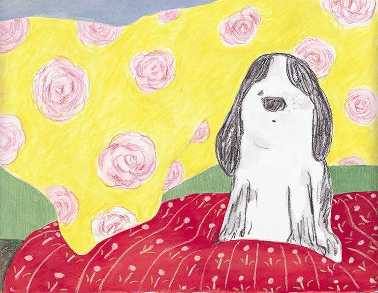 Paw罹癌病逝後,李瑾倫依依不捨畫了一部繪本《好乖的Paw》,風格明亮又溫暖,給予許多眷戀動物的人力量。(李瑾倫提供)