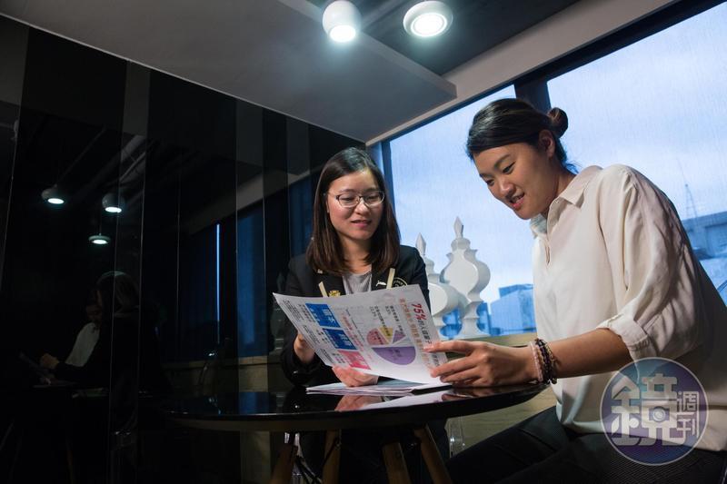 楊雅涵(左)常將自身經驗分享給客戶,強調年輕人應趁體況佳、保費相對便宜時及早規劃保險。
