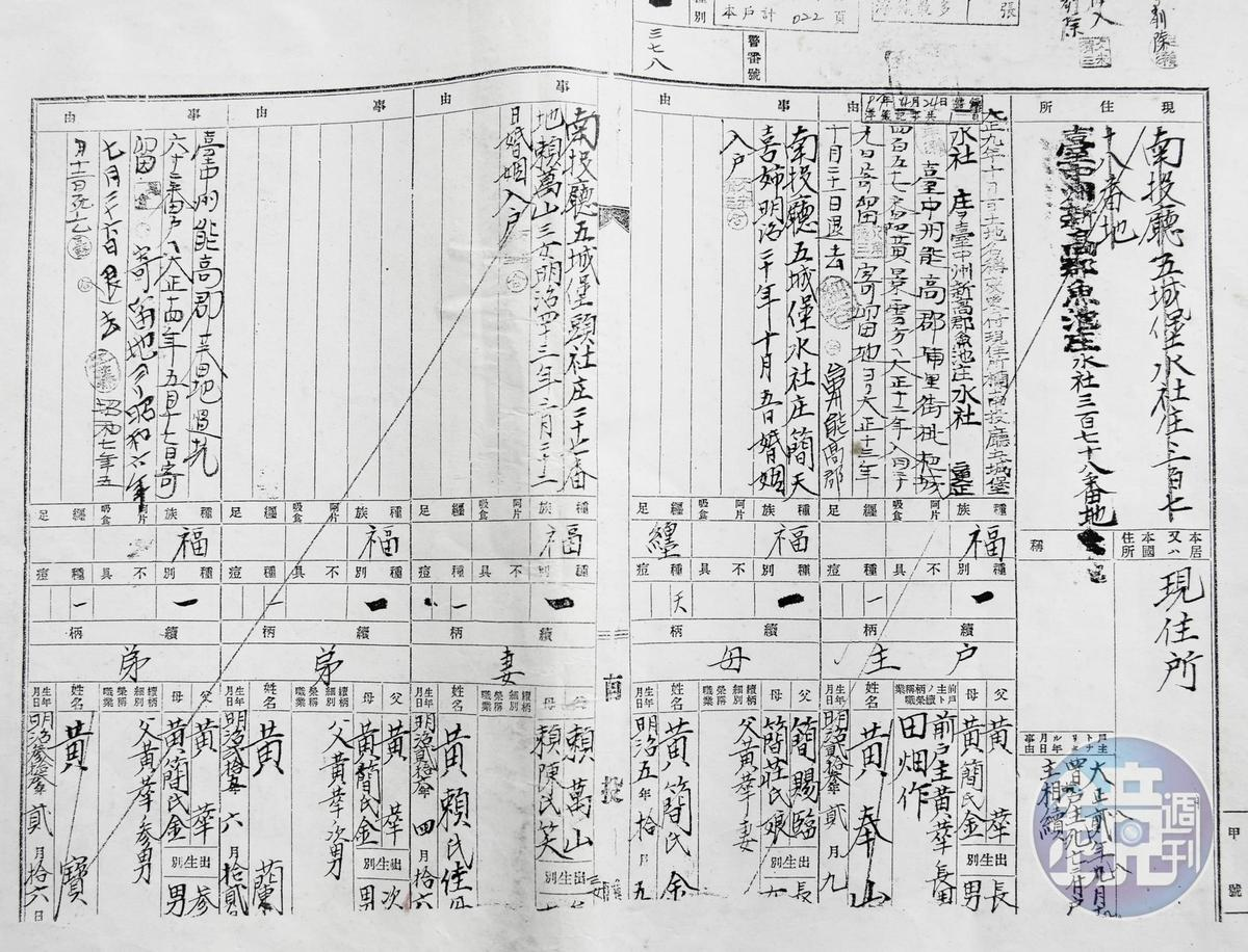 黃進昇透過日治時代的戶籍資料(圖),進一步調出詳細的地籍資料。(讀者提供)
