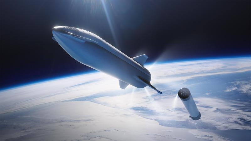 2018年9月,馬斯克的SpaceX公司推出新設計的太空船,可搭載100人,目標是人類未來在月球、火星、或更遠星體殖民的交通工具。(東方IC)