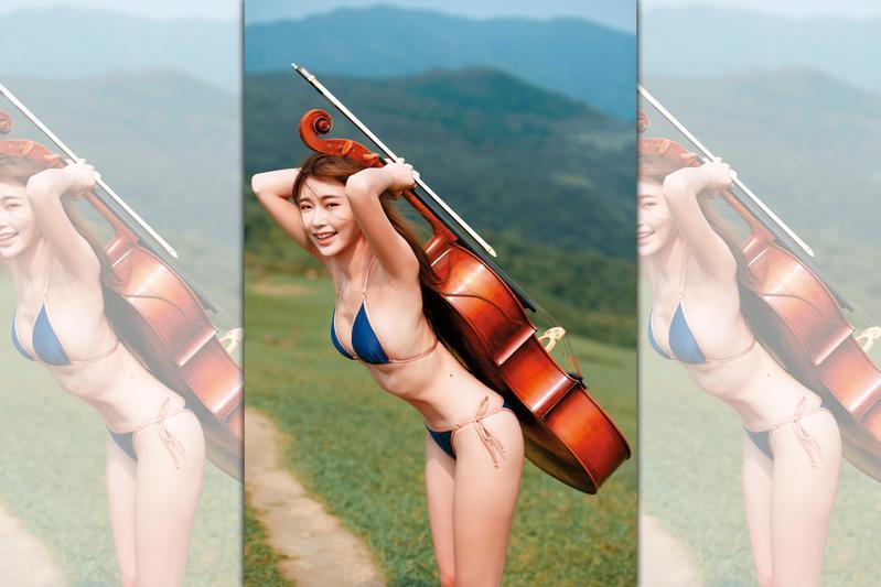 外景特地拉去宜蘭山上拍攝,黃上晏穿著比基尼,揹著大提琴拍照,視覺上很反差。(尖端出版提供)