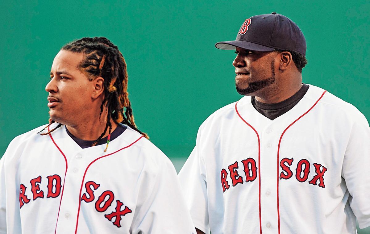 曼尼(左)豪邁球風令台灣球迷印象深刻,他與隊友歐提茲(右)曾串連起波士頓紅襪隊中心打線。(東方IC)