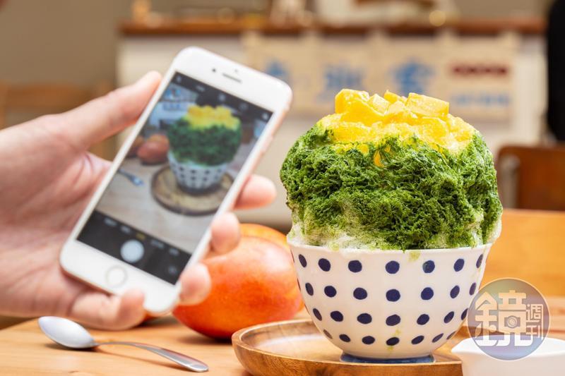 「点氷室」常推出季節限定的果實冰,「夏日老京都」抹茶清爽。(190元/份)