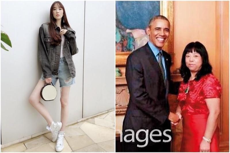 紀曉波的媽媽崔麗杰(右圖右),曾以19億美元的身家登上「香港50富豪排行榜」,並與美國前總統歐巴馬合照,當時吳佩慈(左圖)稱她是「我自豪的婆婆」。(左圖翻攝自吳佩慈微博、右圖翻攝自吳佩慈IG)