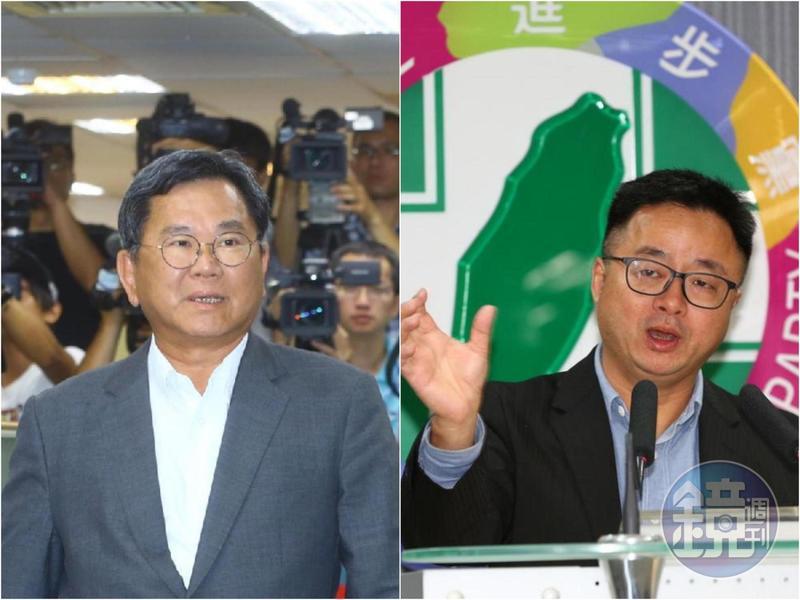 民進黨英系中常委陳明文(左)在中常會「提醒」黨主席卓榮泰,應約束祕書長羅文嘉(右)的發言。