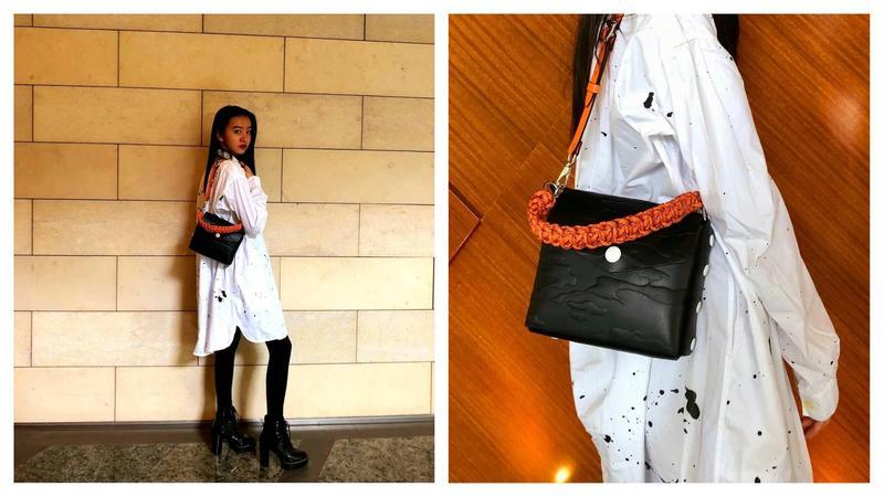 木村光希肩背rag & bone Atlas Bag,妝容與髮型卻超齡演出。(rag & bone提供)