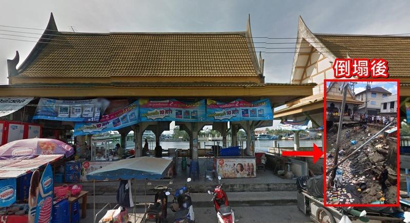 泰國有50年歷史的知名水上餐廳突然坍塌。(大圖翻攝自Google Map、小圖翻攝自推特)