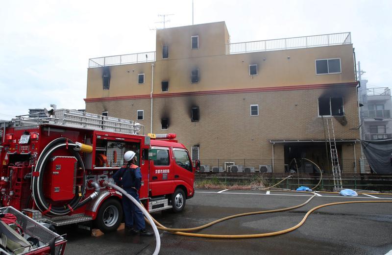 下午 3 點左右的京都動畫火災現場。(東方 IC)