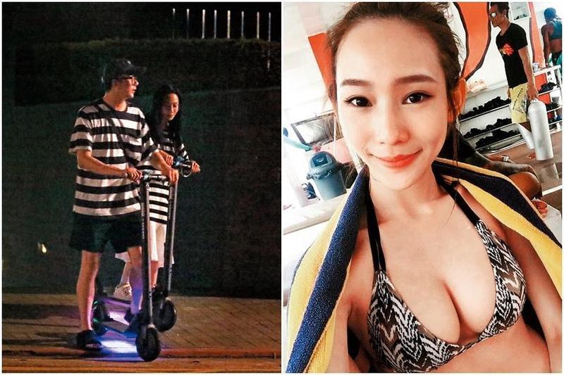 7/8 23:36,送走蕾菈後,廖人帥(左)跟一名女生穿著條紋情侶裝騎滑板車代步;據查,條紋妹名叫Nina,是個網路上有3,000多人追蹤的「奈米網紅」。(右圖翻攝自Nina IG)。