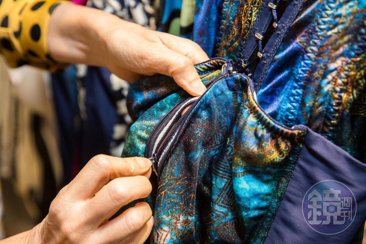 獨家褲底雙層拉鍊專利,讓塑身衣可變成外穿服,兼具美觀與實用功能。