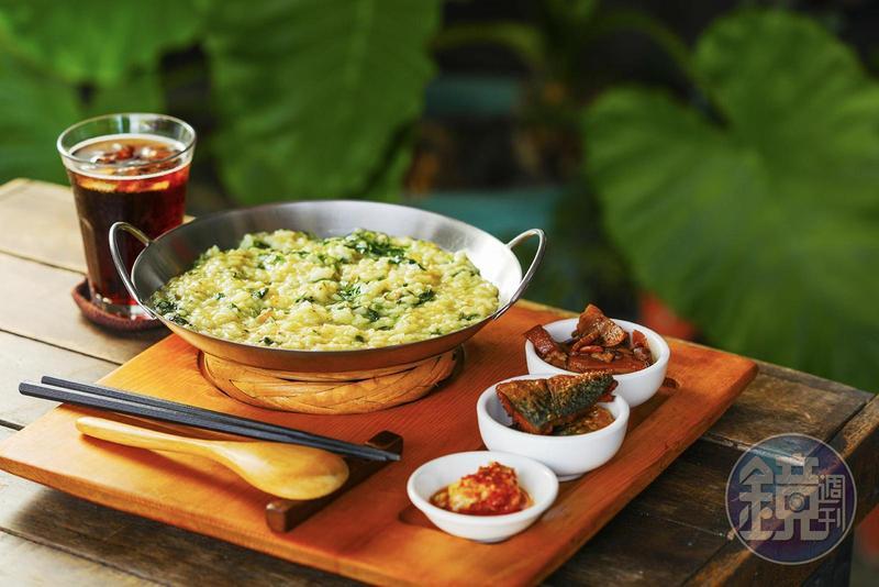 用各種野菜做成的「山地飯套餐」,排灣族人稱為「比努拉稱安」,是傳統的家常料理。(200元/份)