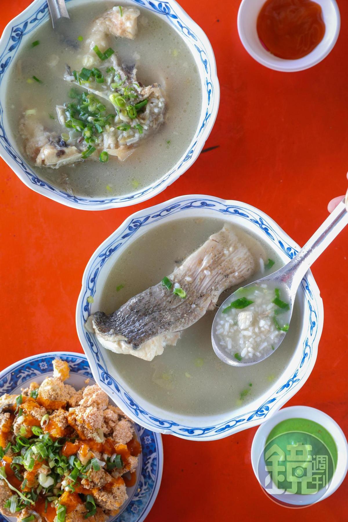 「魚肉粥」(中,60元/碗)「魚下巴粥」(上,80~100元/碗)和「魚卵」(下,50元/大份),全魚早餐現煮鮮濃。