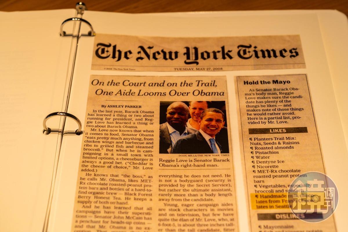 2008年歐巴馬勝選後,《紐約時報》在頭版登出專題,訪問歐巴馬的隨扈Reggie Love,做出一份總統的喜好清單。