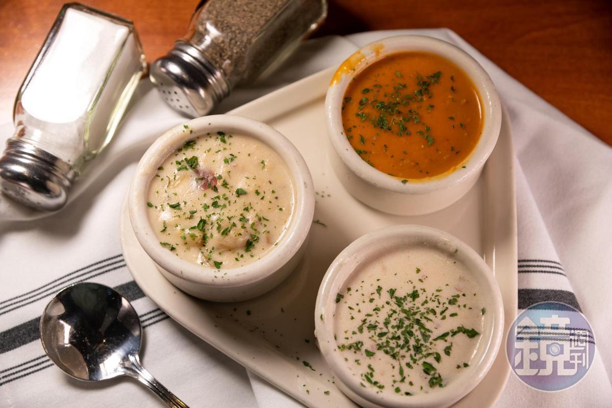 「Chowder Sampler」可以喝到西北經典、鮭魚與玉米海鮮等3種口味的巧達湯。(10美元/份,約NT$313)