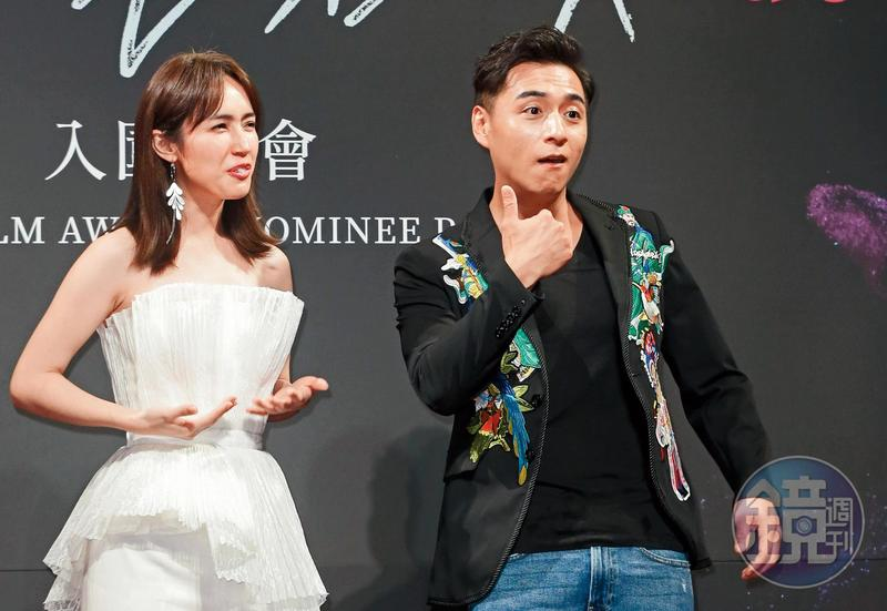 鄭人碩(右)和小薰的不倫緋聞傳了三個月,終於在今年得以公開放閃,兩人還以《寒單》入圍台北電影節男主角和女配角。