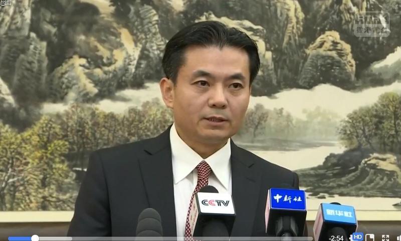 香港反送中運動越演越烈,中國港澳辦今再度在北京舉辦臨時記者會。(翻攝自香港電台視像新聞 RTHK VNEWS 直播影片)