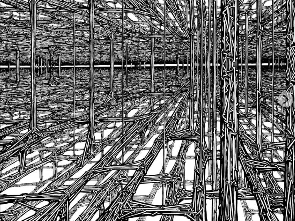 德韋恩描繪線條時不打草稿,直接用鋼筆畫就。他說,這幅繪圖大概花了他20個小時完成。(翻攝忠泰美術館官網)