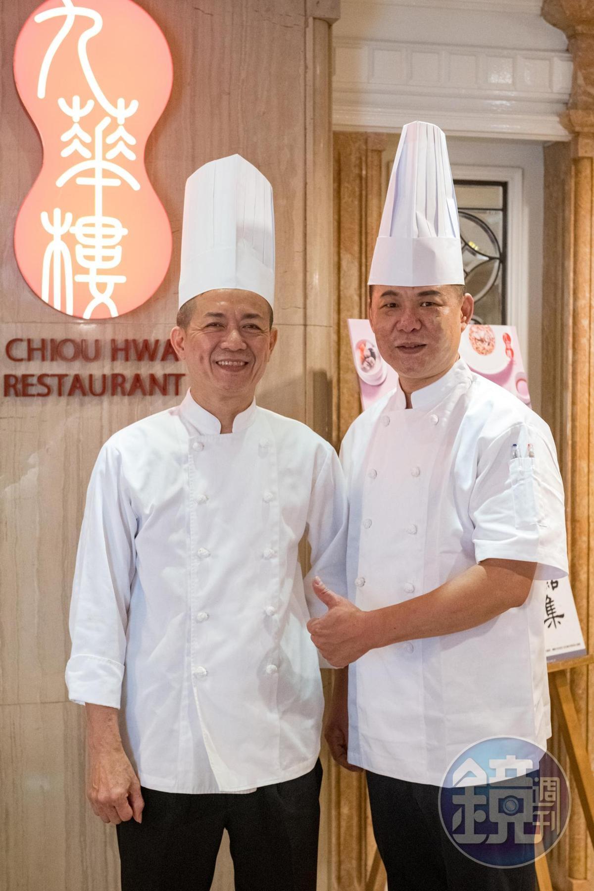九華樓港籍主廚李康寧(左)和廚藝總監黃傳明(右)合力升級全鴨匯。