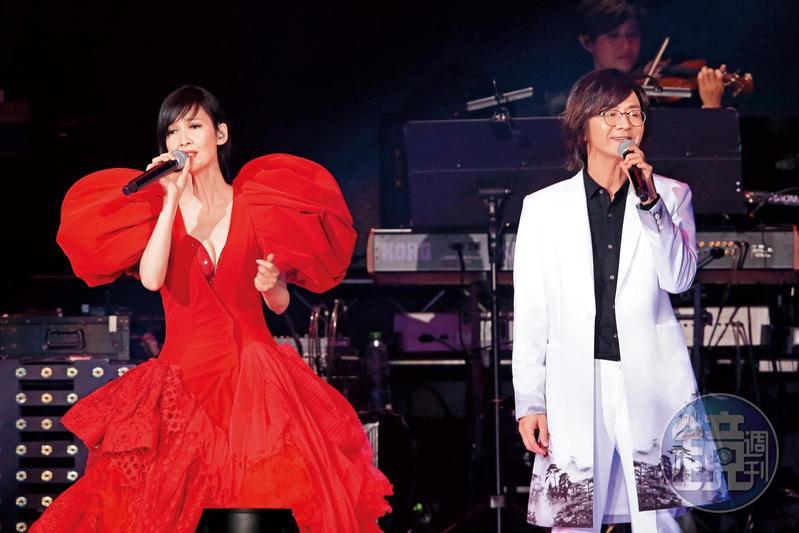 周慧敏(左)在小巨蛋演唱會上落淚聲稱,這應該是最後一次在台灣開唱,她果然尺度大開,繃出右奶。右為林隆璇。