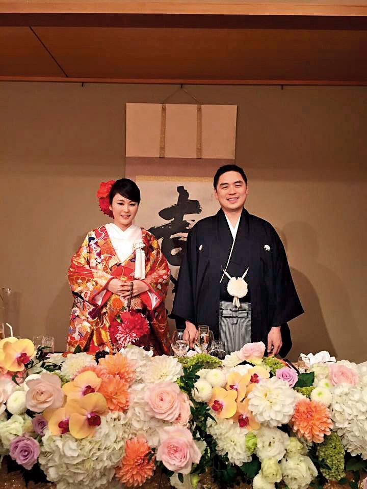 2014年,麻衣跟王泉仁在日本東京舉行婚宴,地點就在椿山莊。(翻攝自麻衣臉書)