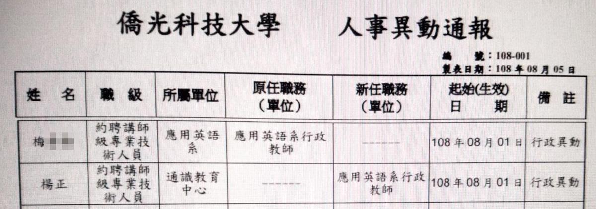 楊正是校長之子,校方8月公告聘他擔任應用英語系行政教師,已涉嫌違反規定。