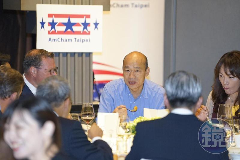 高雄市長韓國瑜原定10點30分要與日本外賓進行會晤,但遲到了25分鐘,讓90位賓客尷尬空等。圖為韓國瑜昨日出席美國商會演講。