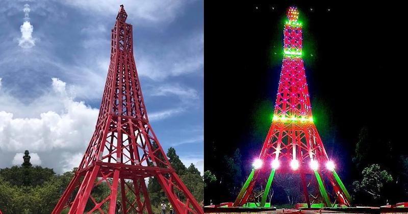 千萬打造的「巴陵鐵塔」在網路上被罵翻,時任區長的曾志湘回應稱防災避雷為主、觀光為輔。(翻攝自網路)