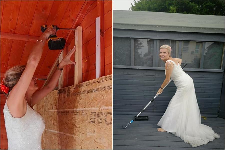 英國一名女子因為太喜歡她的婚紗,決定穿著婚紗一整年,直到下一次結婚紀念日。(翻攝自The life and times of a wedding dress臉書)