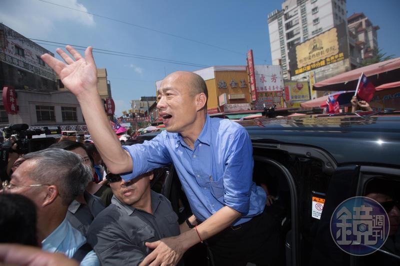 高雄市長韓國瑜參拜彰化8間廟宇,致詞表示就算存款3億也改變不了政治,被視為針對郭台銘喊話。