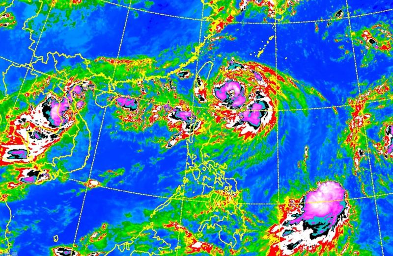 受颱風外圍環流影響,今(4日)北部有零星降雨,而南部則要慎防豪雨。(翻攝中央氣象局)