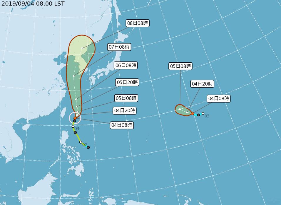 稍早玲玲已升級為中颱,由於7級風暴風半徑擴大至180公里,導致全台本島幾乎都受到外圍環流影響。(中央氣象局提供)