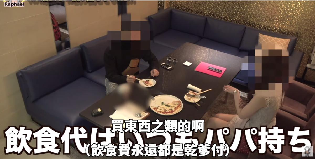 正妹說自己日常花費都由乾爹支出,每個月可以賺入400萬日元。(截圖自影片)