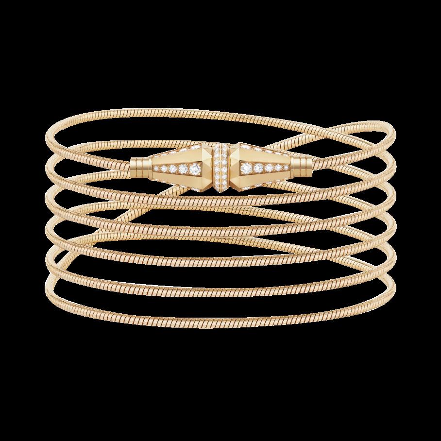 (微風廣場)BOUCHERON Jack系列手鍊/黃金750材質、鑲嵌90顆圓鑽(約1.04克拉),推薦價約49萬8,000元。