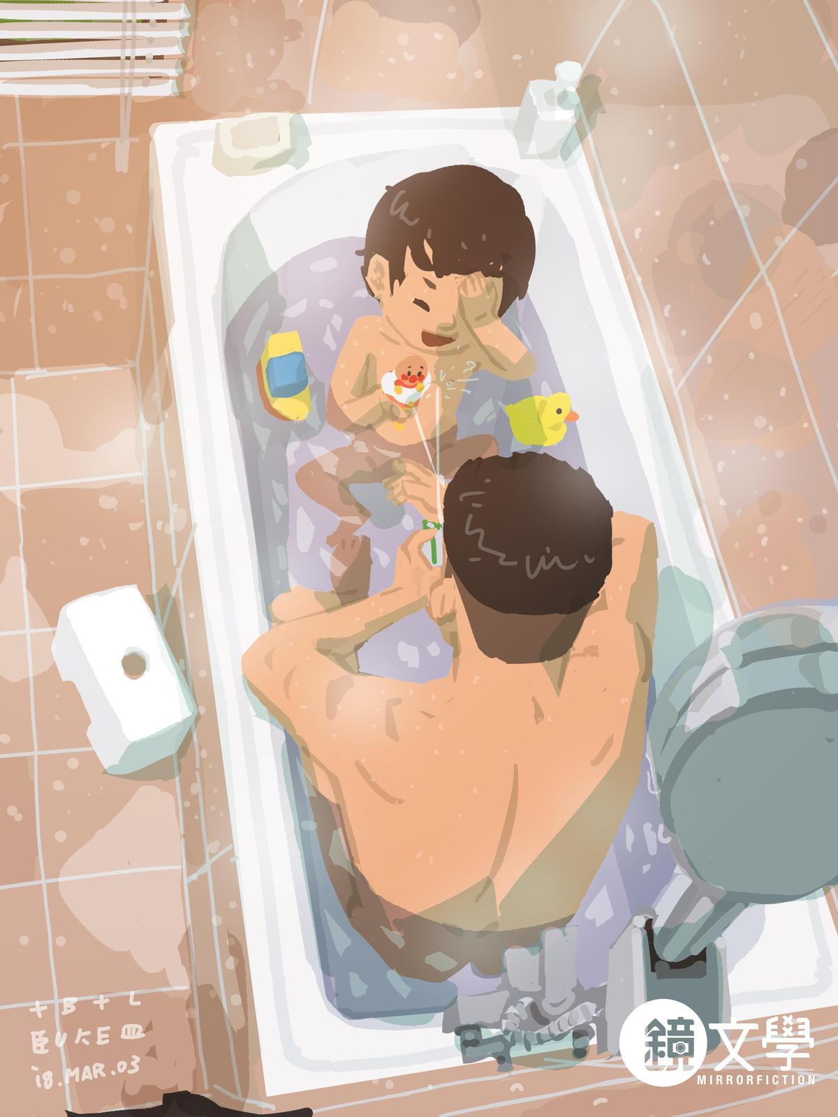 《單親爸爸週記─泡澡》為讓兒子克服對水的恐懼,帶了玩具陪他玩,不料竟讓孩子愛上玩水,多了新的麻煩。(鏡文學提供)