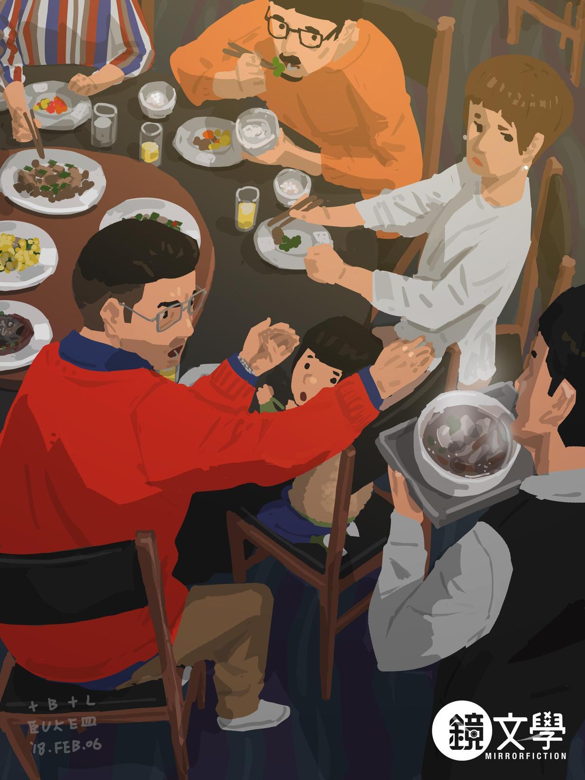 《單親爸爸週記─罵服務員》善良敦厚的Blue,為照顧用餐,若遇到粗心大意的服務生就會扮起黑臉。(鏡文學提供)